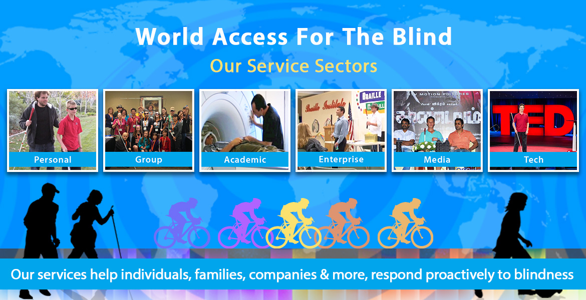 Our Services: Personal, Group, Academic, Enterprise, Media, Tech. Our range of services helps individual families, companies and more to adapt to blindness in a positive way. Personal: Counseling, Guidance and Training based on the evaluated needs of the student. Group: FlashSonar workshops for blind and sighted students/families/instructor trainees. Academic: Advisory consulting services for Auditory & Vision research; School lectures. Enterprise: Accessibility (ADA) consulting, FlashSonar workshops, Keynote Speakers, Employee Learning and Development. Media: Expert consultants for Movies/TV; Keynote Speakers, Guests for Talk TV/Radio. Tech: Consulting services available for testing and evaluating Assistive tech apps and devices.