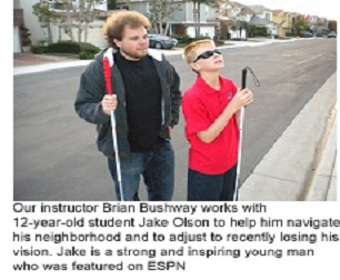 Picture 2: Our instructor Brian Bushway works with 12-year-old student Jake Olson to help him navigate his neighborhood and to adjust to recently losing his vision. Jake is a strong and inspiring young man who was featured on ESPN